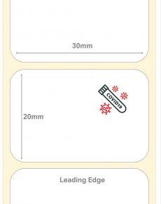Covid-19 Test Kit Labels : 30mm x 20mm Cryogenic Liquid Nitrogen Polyester Labels