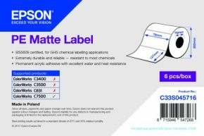 C33S045716 - PE Matte Label - Die-cut Roll: 76mm x 127mm