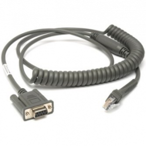 9ft (2.8m) RS232 Serial Cable - DB9 Female Connector - Coiled - Power Pin 9